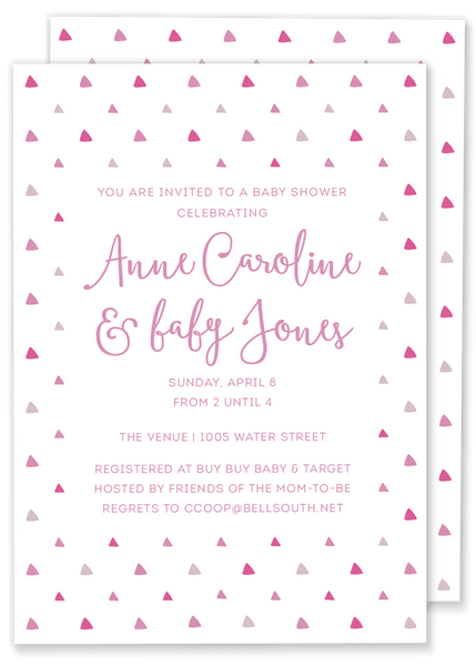 triangle baby shower invitation pink