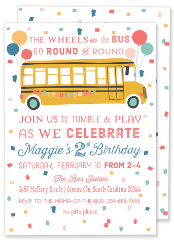 Tumble Bus Birthday Party Invitation
