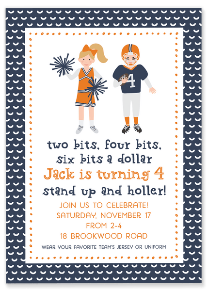 Two Bits Football Party Invitation