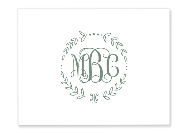 Vine Wreath Monogram Folded Note Card