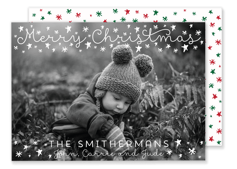 White Christmas Stars Card