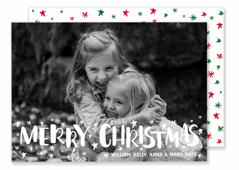 White Stars Christmas Card