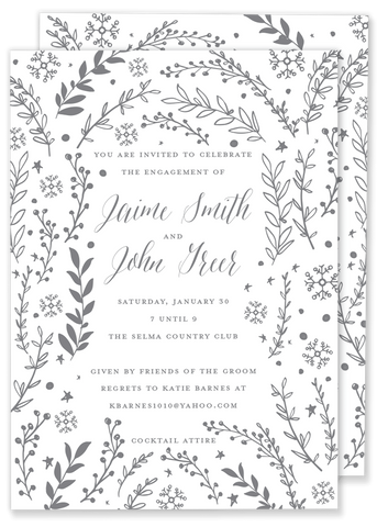 Winter Foliage shower invitation
