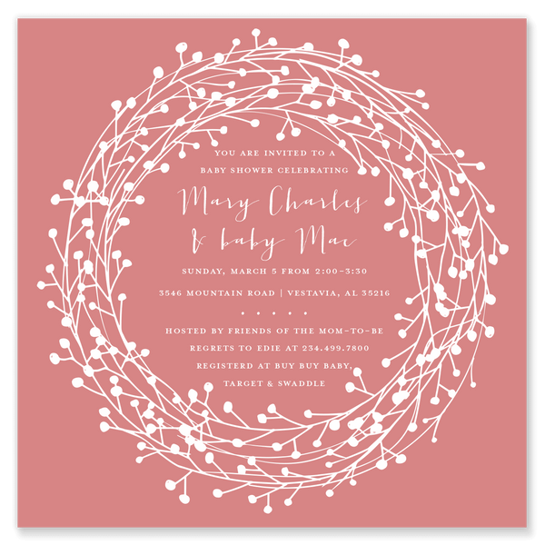 Wreath Square Shower Invitation