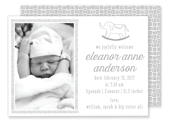 grey rocking horse birth announcement