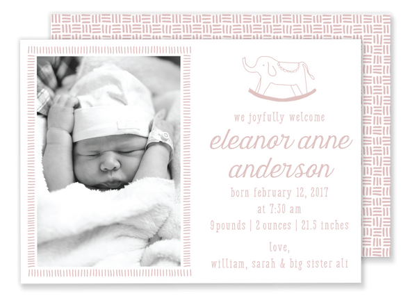 pink rocking horse birth announcement