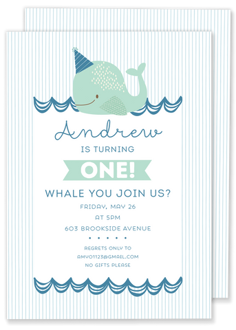 Whale You Join Us Birthday Party Invitation