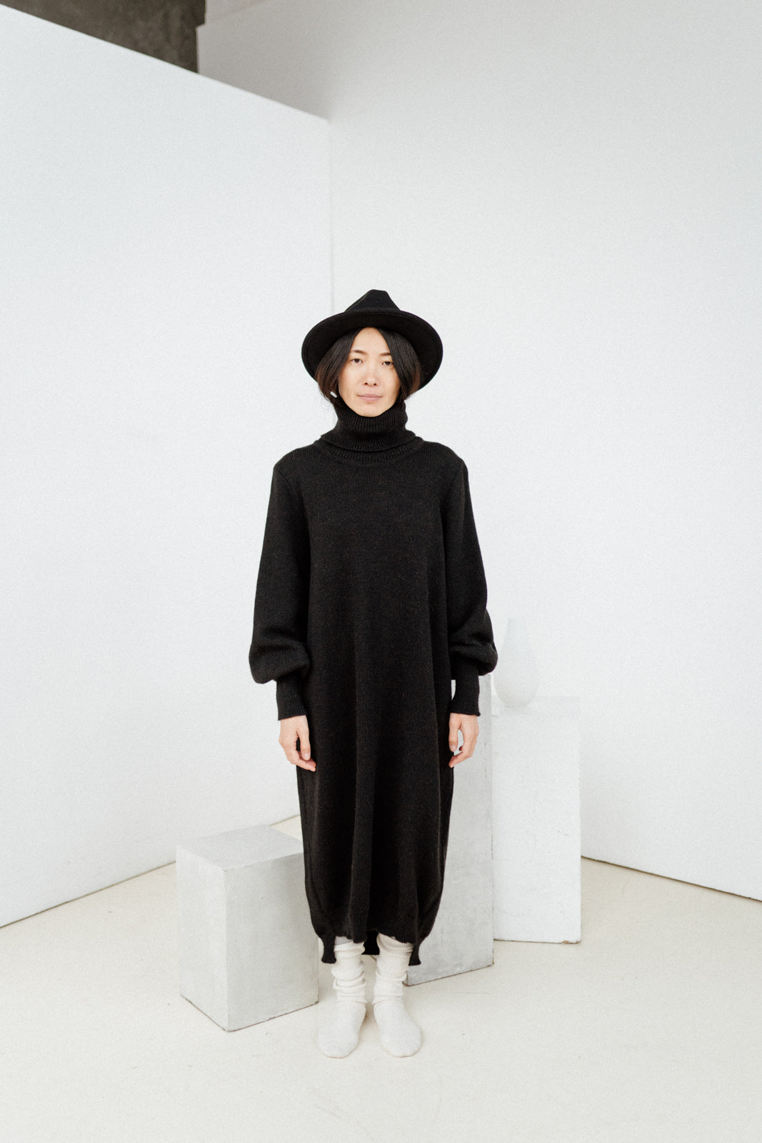 Long knitted wool oversized dress