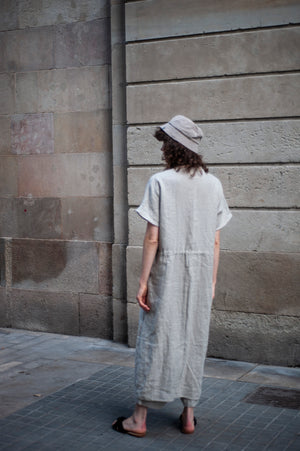 Long straight silhouette linen vest dress for women