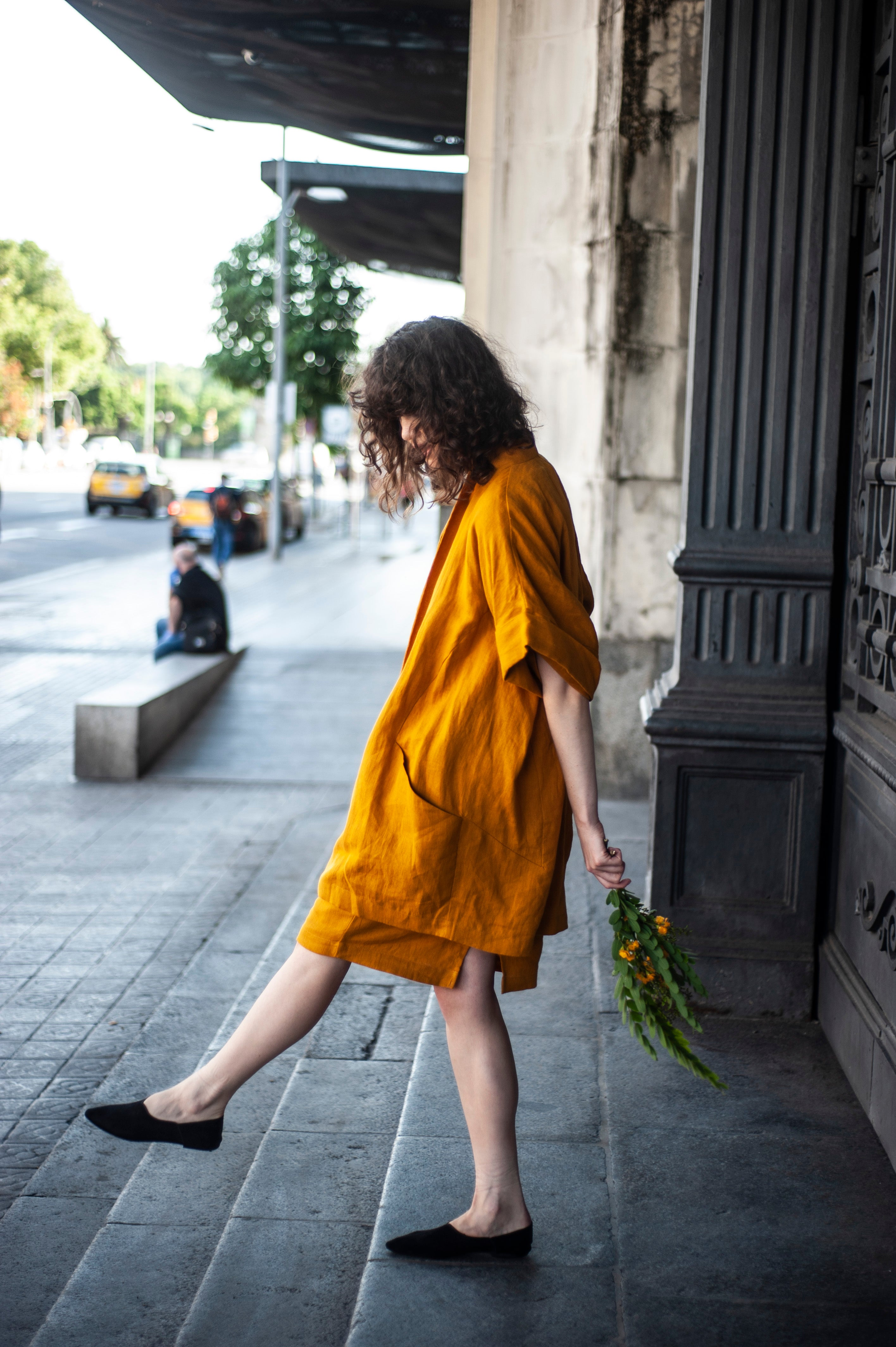 Long oversized linen blazer for woman