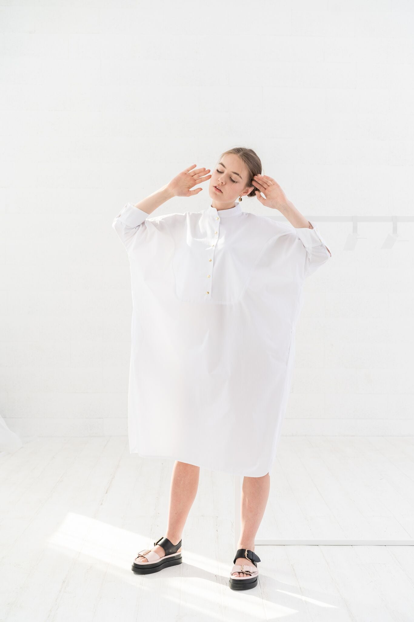 "White Tunic Dress, Midi Dress, Plus Size Dress, Shirt Dress, Oversized Dress, Loose Dress, Casual Dress, Shirt Dress ""Rhodes"""