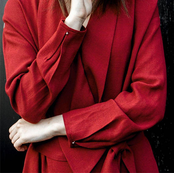 Red Dress, Kimono Dress, Wool Dress, Long Sleeve Dress, Women Dress, Midi Dress, Evening Dress, Minimalist Dress, Bohemian Clothing