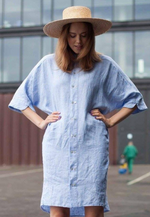 Long oversized linen shirts dress with kimono sleeves