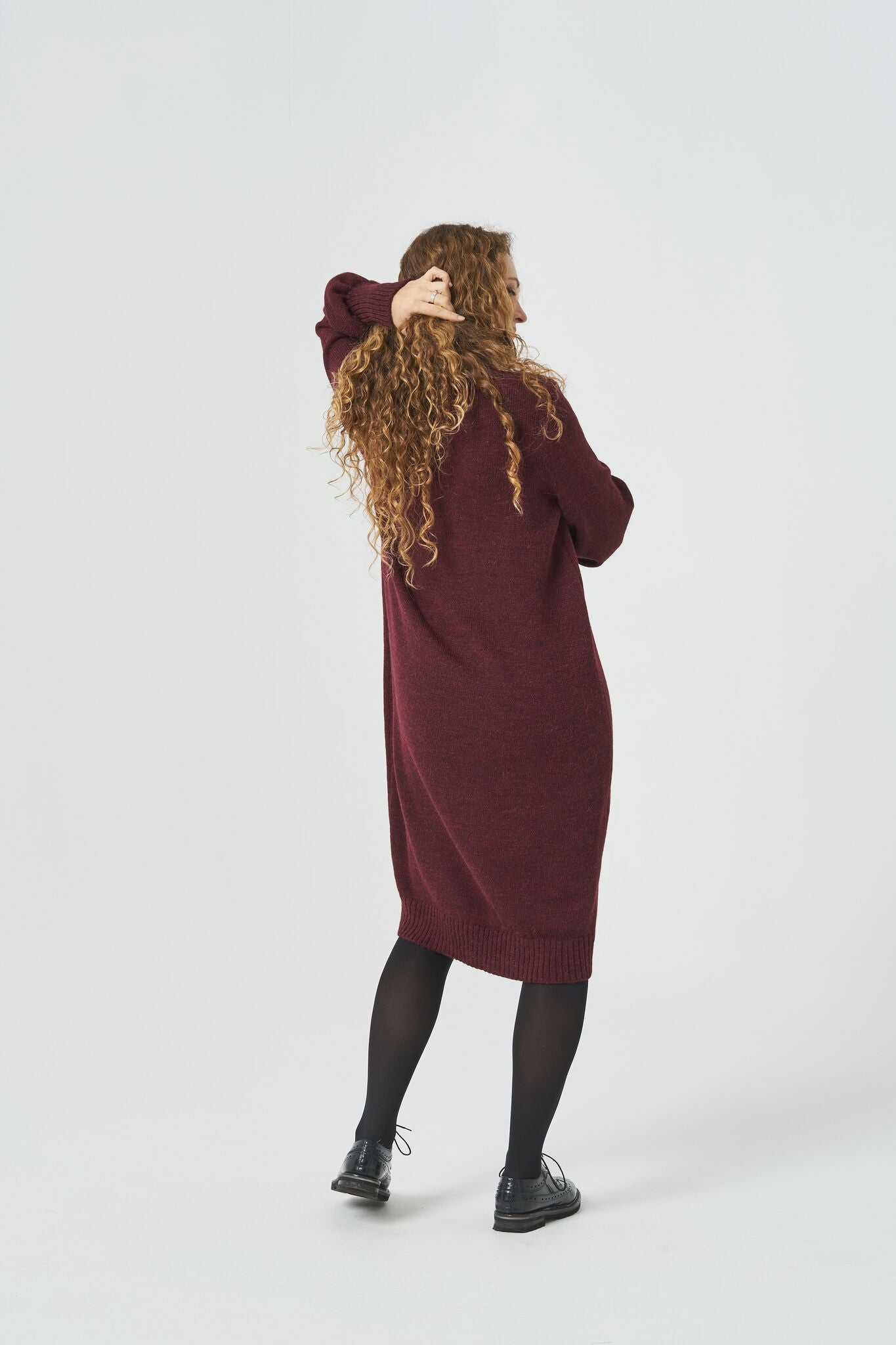 BURGUNDY ALPACA WOOL ROLL-NECK KNITTED MAXI DRESS