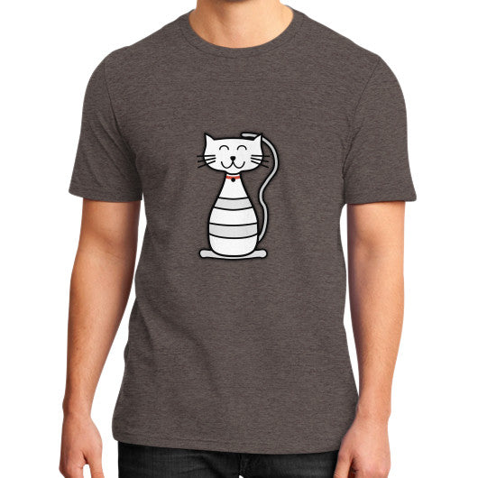Kitten Graphic Short Sleeves District T-Shirt (on man) Heather brown frivolista
