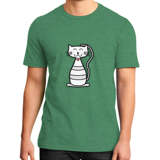 Kitten Graphic Short Sleeves District T-Shirt (on man) Heather green frivolista