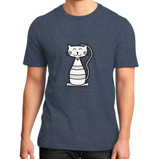 Kitten Graphic Short Sleeves District T-Shirt (on man) Heather navy frivolista
