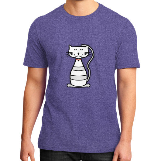 Kitten Graphic Short Sleeves District T-Shirt (on man) Heather purple frivolista