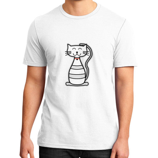 Kitten Graphic Short Sleeves District T-Shirt (on man) White frivolista