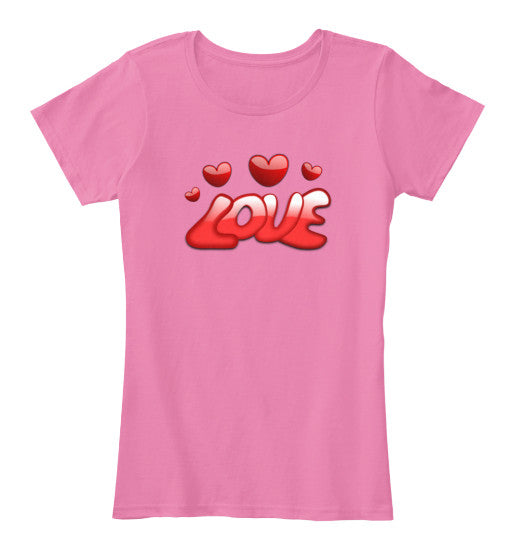 Love Hearts Women Short Sleeves T-Shirt