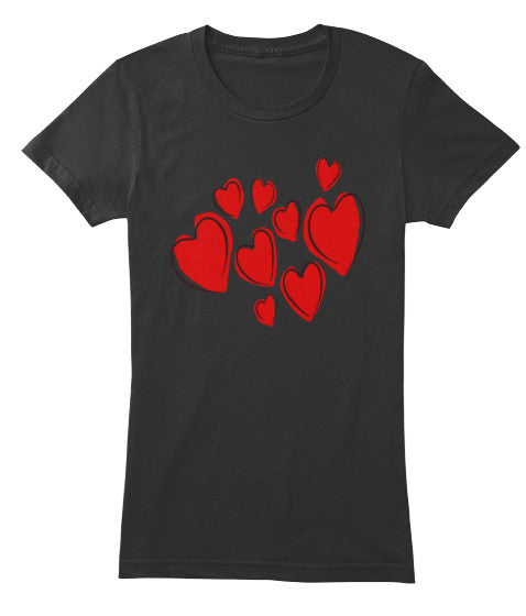 Hearts Women Short Sleeves T-Shirt