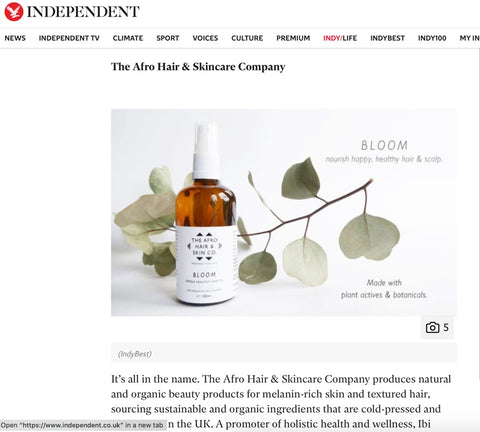 Article in The Independent Newspaper showing our Best Selling Bloom - Omega Healthy Hair Oil for Afro Hair