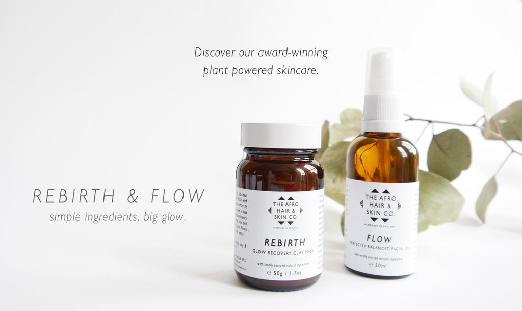Rebirth clay mask and Flow facial oil