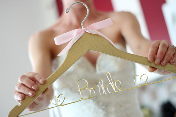 Gold Bride Hanger with Hearts, Wedding Hanger
