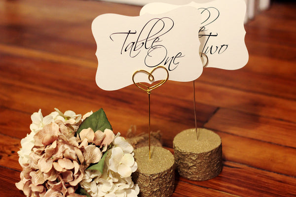 Glitter Gold Rustic Log Table Number Holders