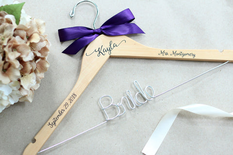 Personalized Wire and Decals Bridal Hanger