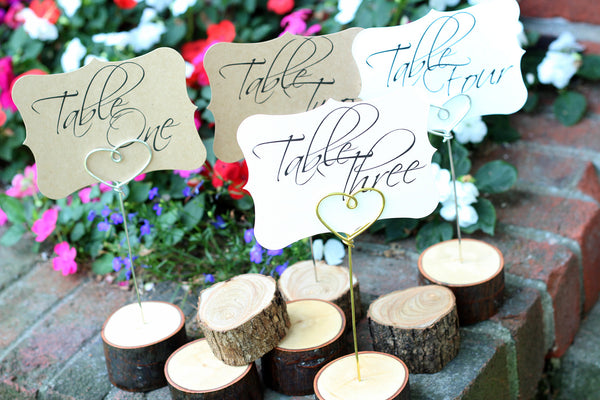 Rustic Log Table Number Holders