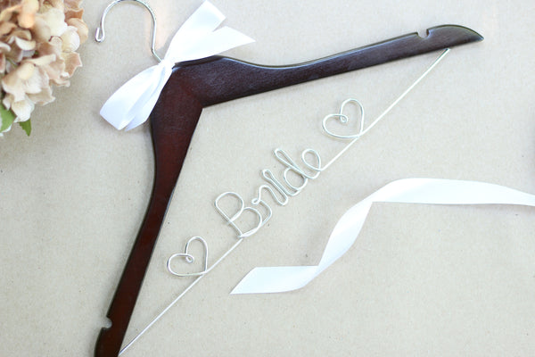 Bride Hanger with Hearts, Wedding Hanger