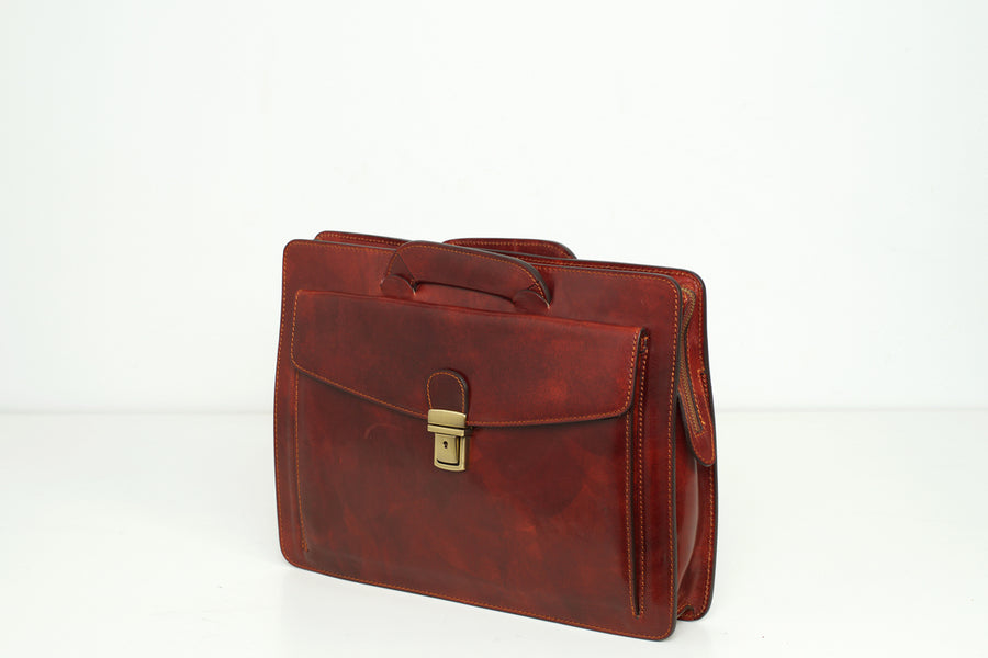 Zaragoza Brown - Slim Leather Briefcase