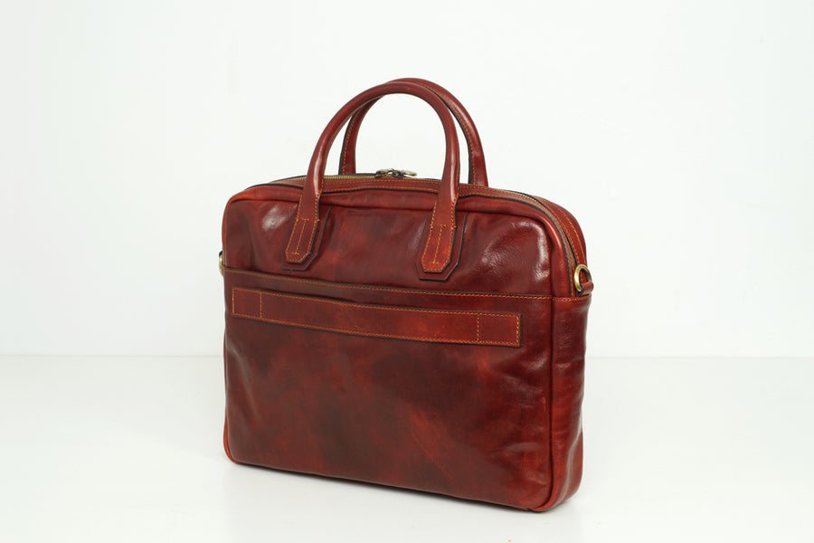 Madrid Brown - Leather Slim Briefcase