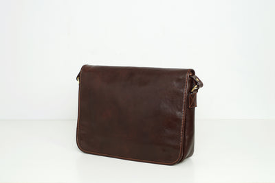 Julius Chocolate - Leather Messenger Bag