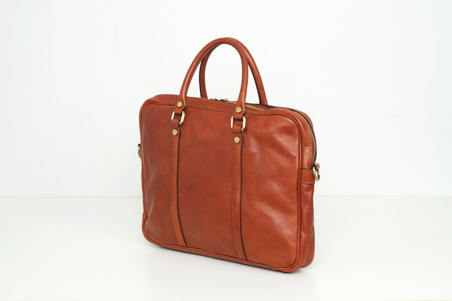 Oslo Tan - Slim Leather Briefcase