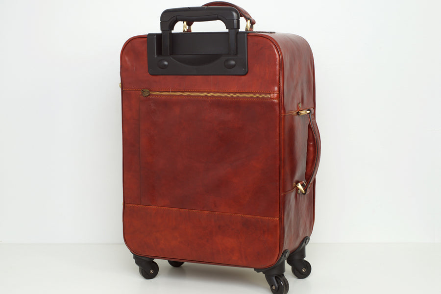Cabin Trolley Brown Leather Bag
