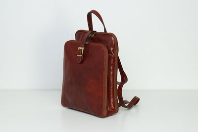 Catherine Brown - Three Sections Leather Backpack