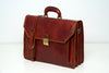 Leyton Brown - Three Compartments Leather Briefcase