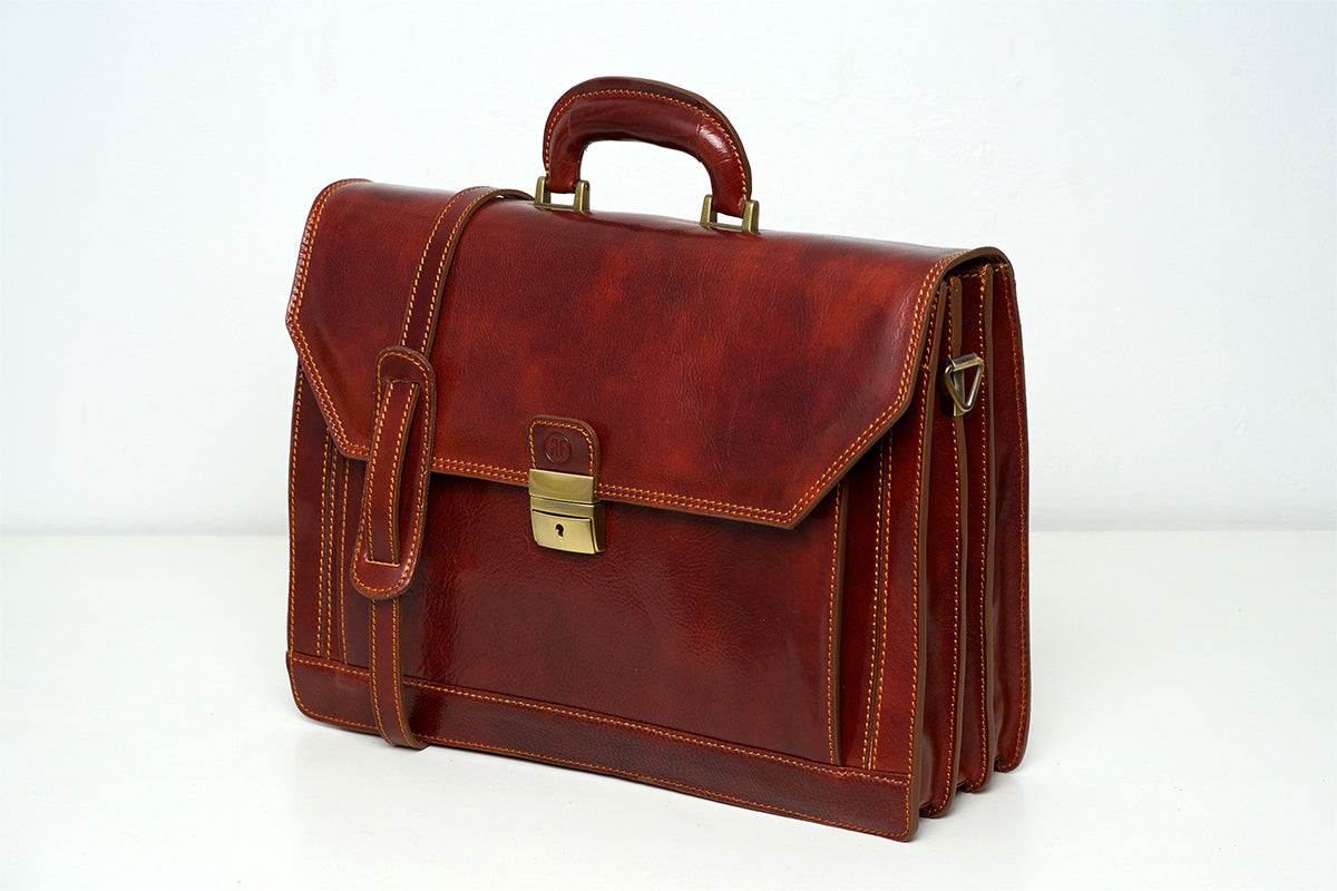 b8db44196e Leyton Brown - Three Compartments Leather Briefcase - Republic of ...