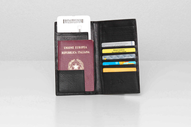 Jefferson Black Leather Travel Wallet