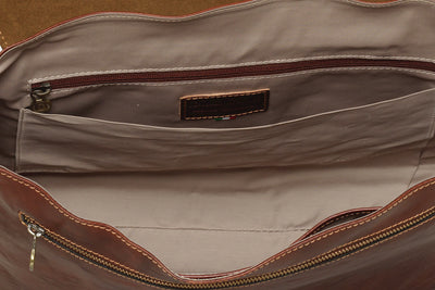 Lisbon Brown Leather Laptop Messenger