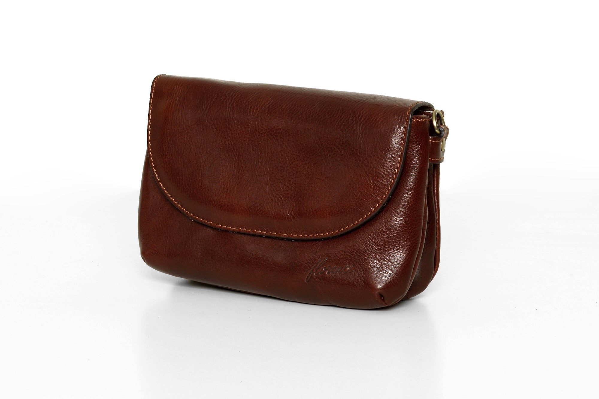 Charlotte Brown Leather Clutch Bag