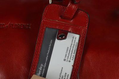 Leather Luggage Tag in Red