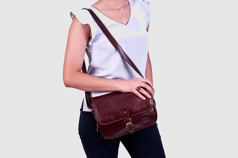 Annabel Brown Leather Crossbody Bag