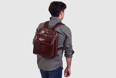 Buffett Brown - Leather Backpack 13""