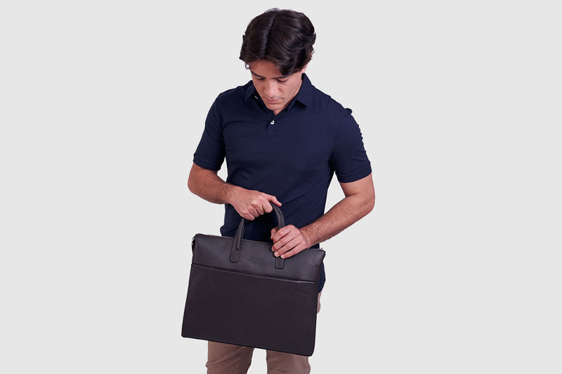 Boston Chocolate - Slim leather briefcase