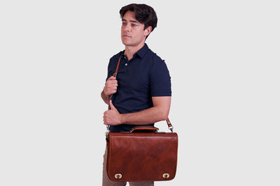 King Numa Tan Leather Briefcase 15""