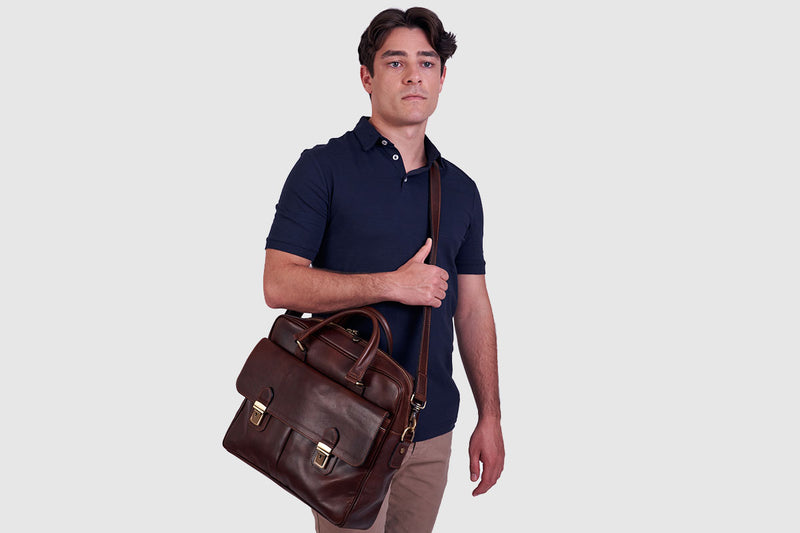 Toronto Chocolate Leather Briefcase