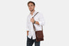 Augustus Brown Leather Satchel